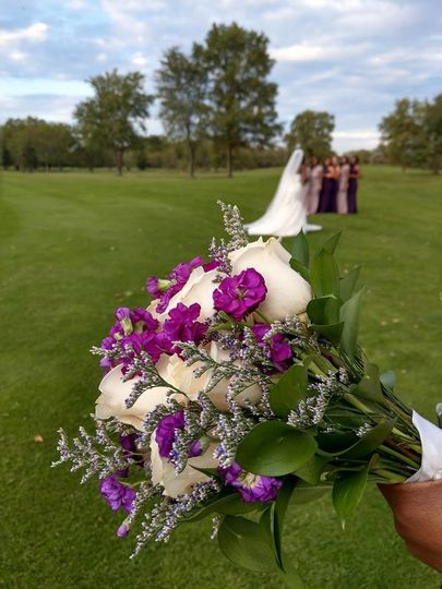 Bouquet of white and purple flowers