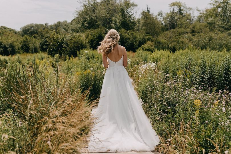 Walking to her groom