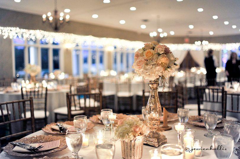 blush and gold mercury glass wedding centerpiece