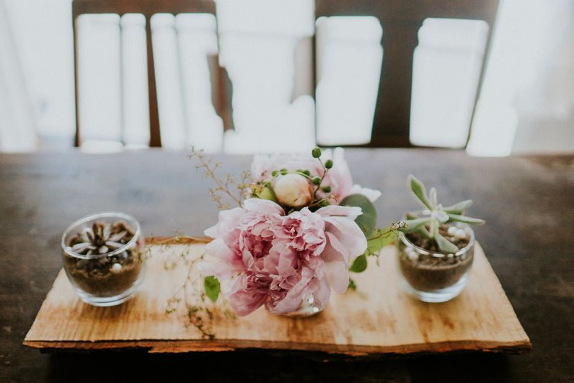 Floral centerpiece and succulents