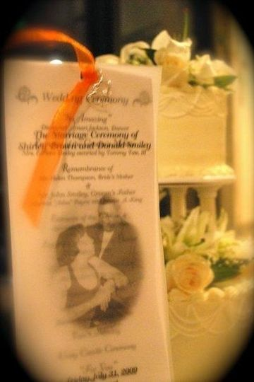 Donald and Shirley's wedding program