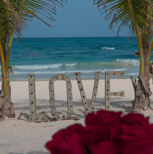 Love signage by the beach