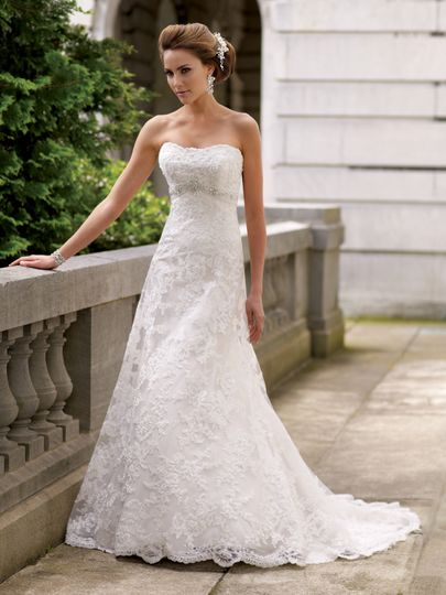 Lace wedding dress, strapless embroidered lace with hand-beaded accents and tulle over satin A-line...