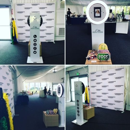 elite selfie station with step and repeat backdrop