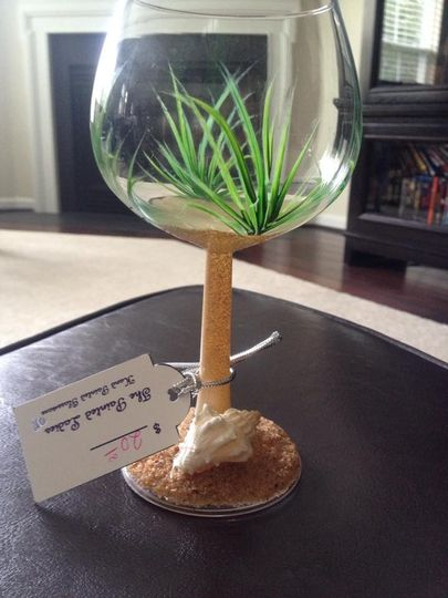 Perfect for the Beach Wedding! Notice the actual sand and seashell on the bottom of the glass.  They...