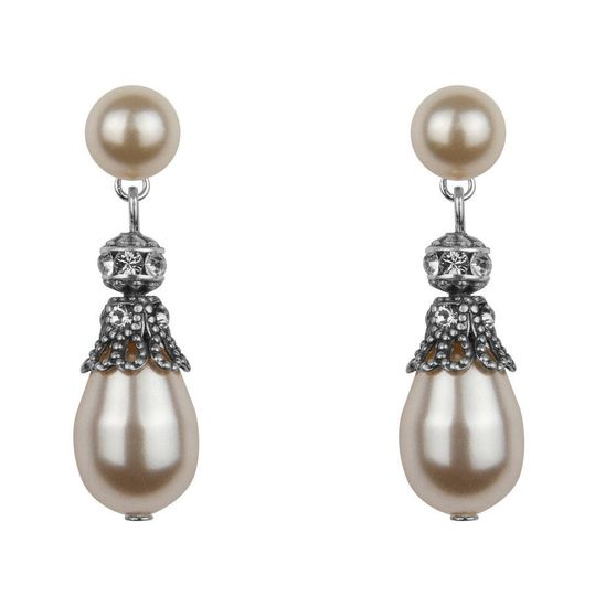 originalrhinestone embellished pearl drop earrings