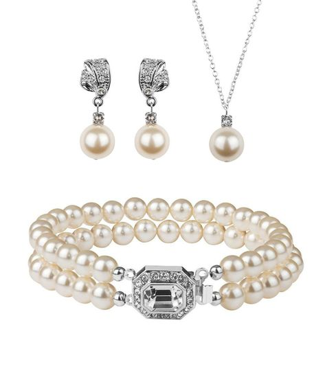 b9097948d7583bbf Rhinestone and Pearl Jewellery set