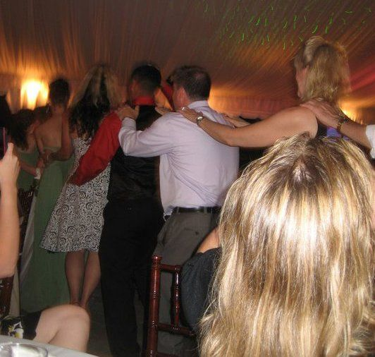 """Everybody participates in the energetic """"conga"""" line..."""
