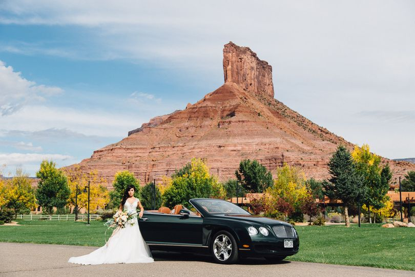 Bride with car