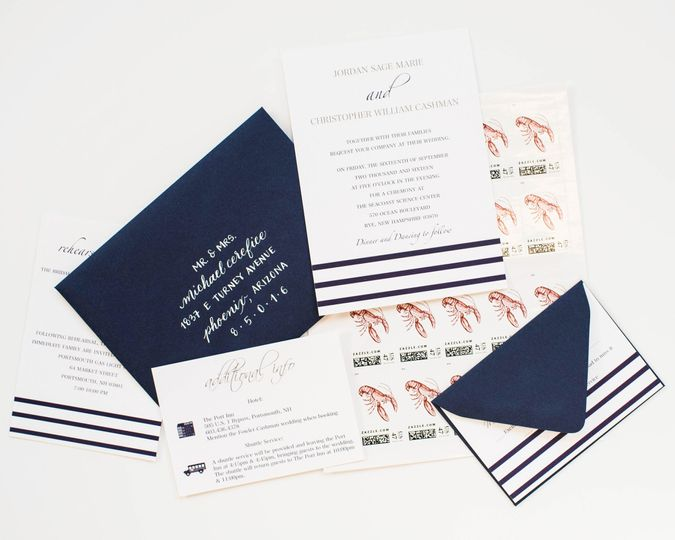striped wedding invitation suite 1