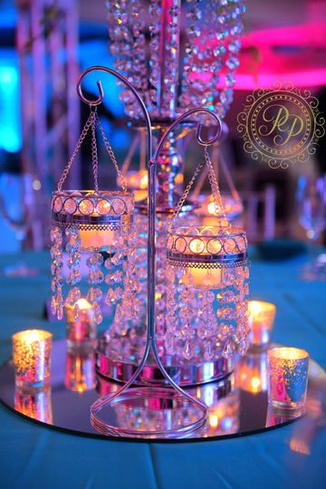 Mini chandelier with candles