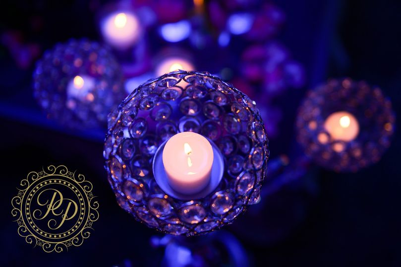 Candle lit crystal centerpiece