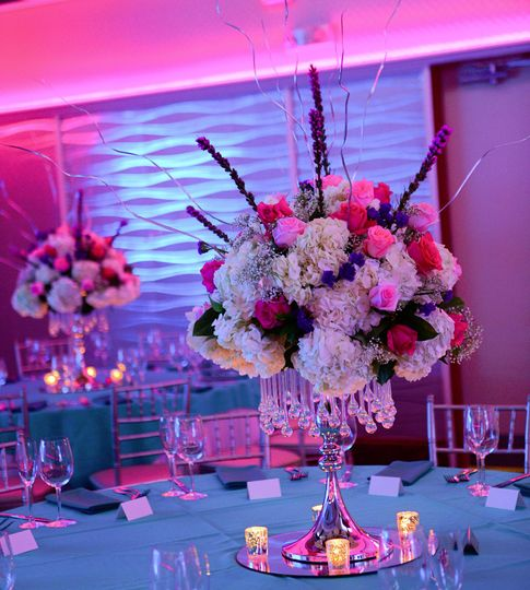 Floral centerpiece with crystals