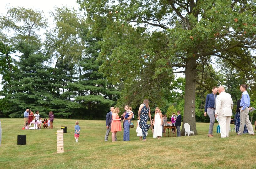 Guests entertain on the lawn