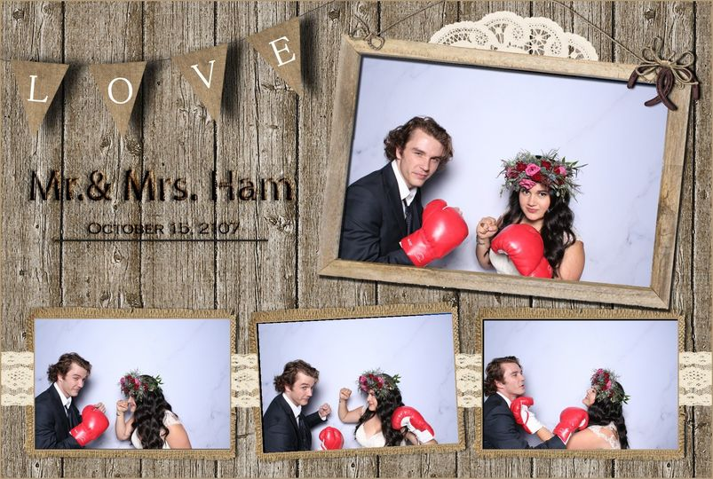 Newlyweds in the photo booth