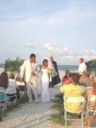 Just married at the beach