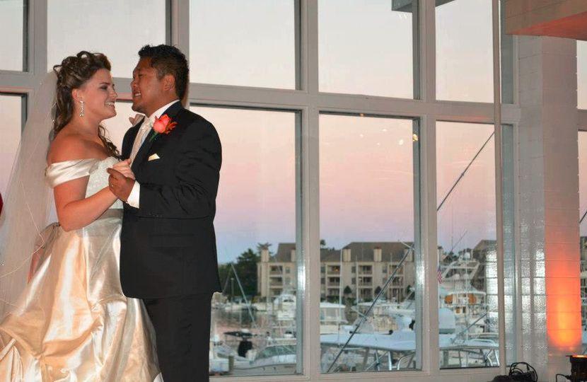 Newlyweds slow dancing