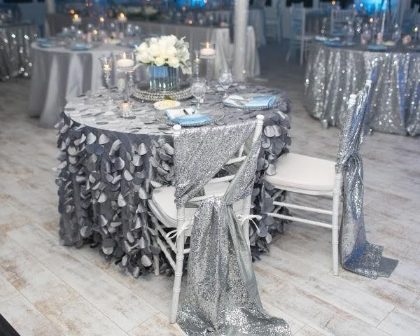 Silver textured linens