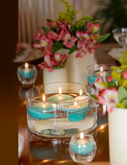 Turquoise Gerbera Daisies Floating Candles and Color Spots