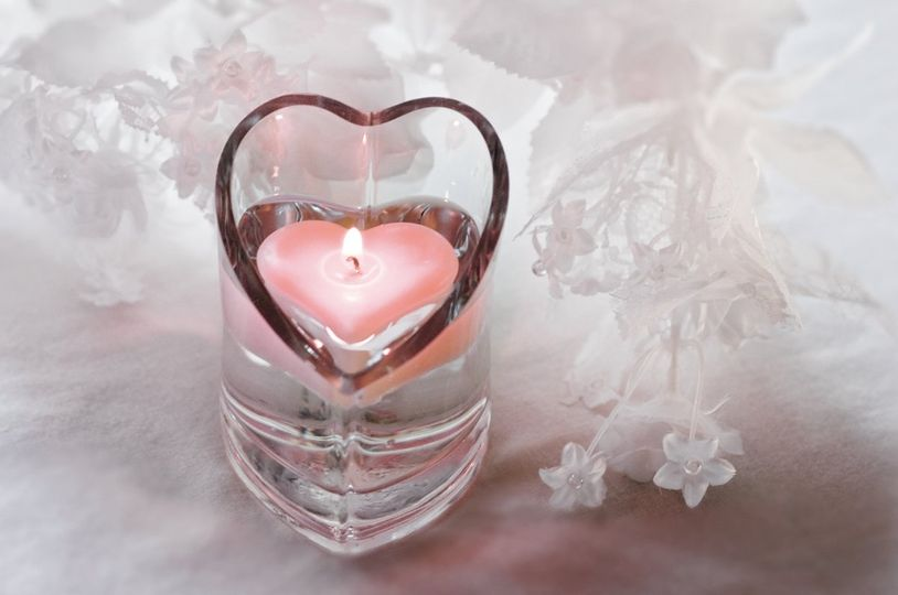 Pink Heart Floating Candle in Heart Vase