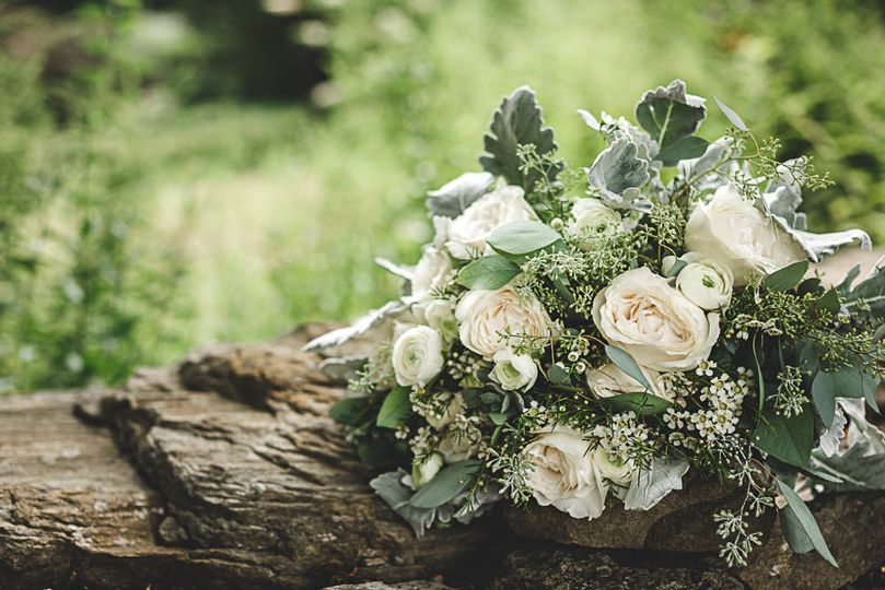 Bouquet on a trunk
