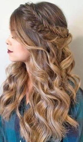Tumbling curls with plaited crown