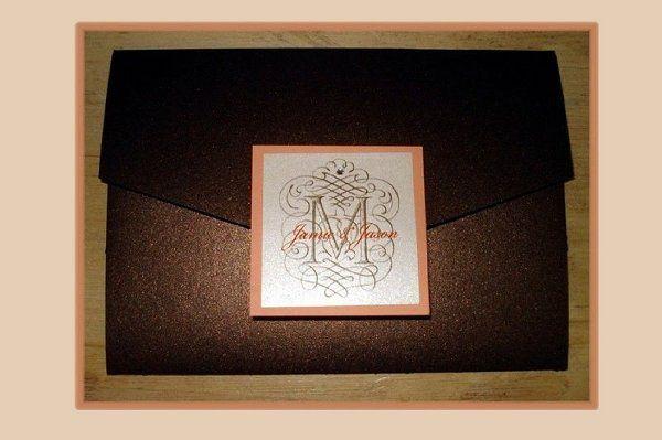 Modern Brown Metallic Pocketfold Wedding Invitation with Coral & White Monogram Seal and Rhinestone...