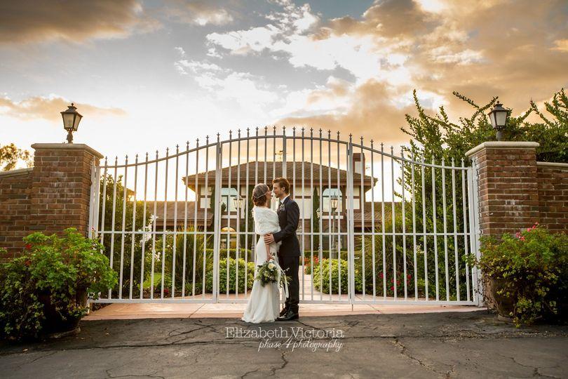 Couple at garden entrance