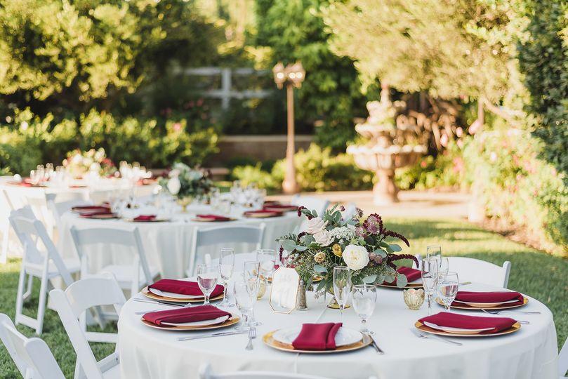 Burgundy Reception Tables