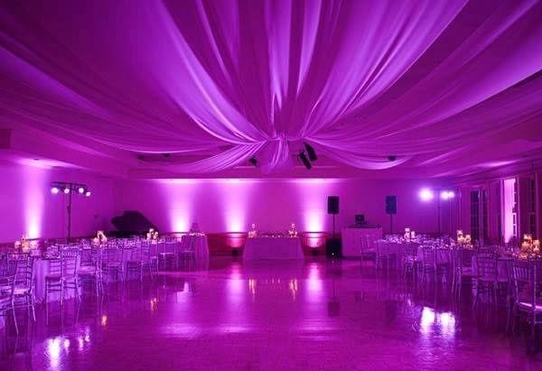 Purple draping and lighting