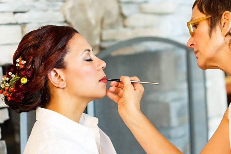 Lipstick and updo