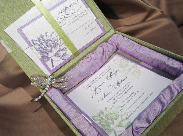 Dupioni sage green silk box with lilac silk inlay