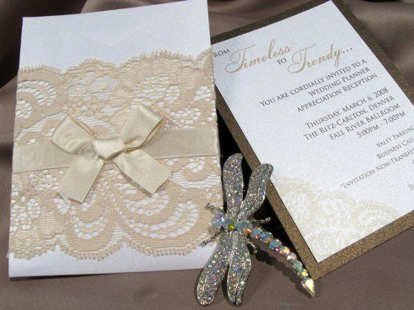 Antique Lace and silk ribbon pocket invitation
