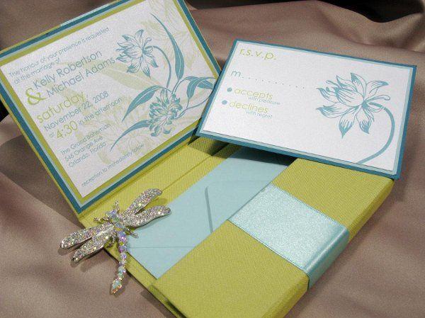 Linen folio invitation with satin ribbon detailing