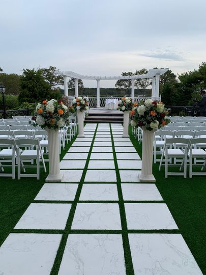 Ceremony set up on the lawn