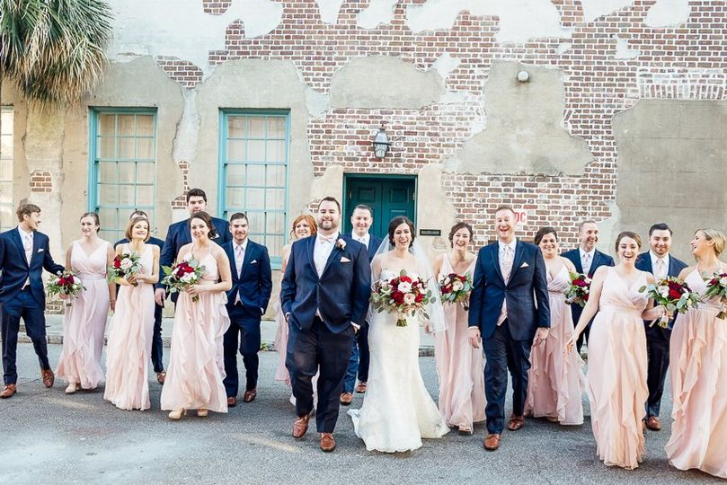 Wedding party in downtown