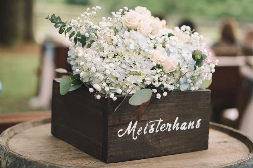 Blue Hydrangeas and roses