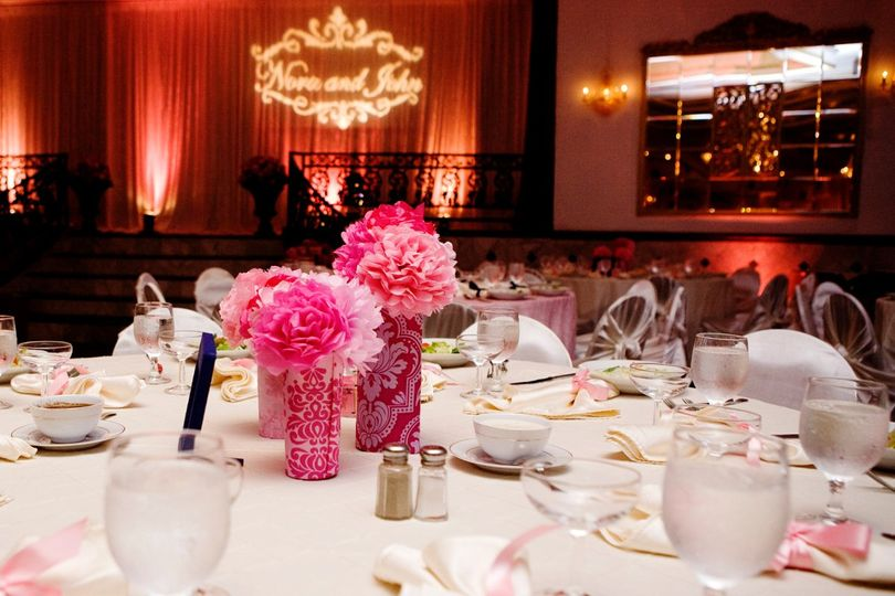 Floral centerpiece in bright pink