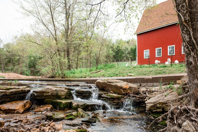Picturesque creek and barn