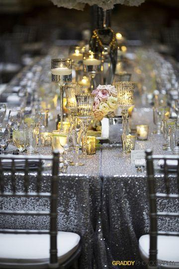 Silver sparkle linens