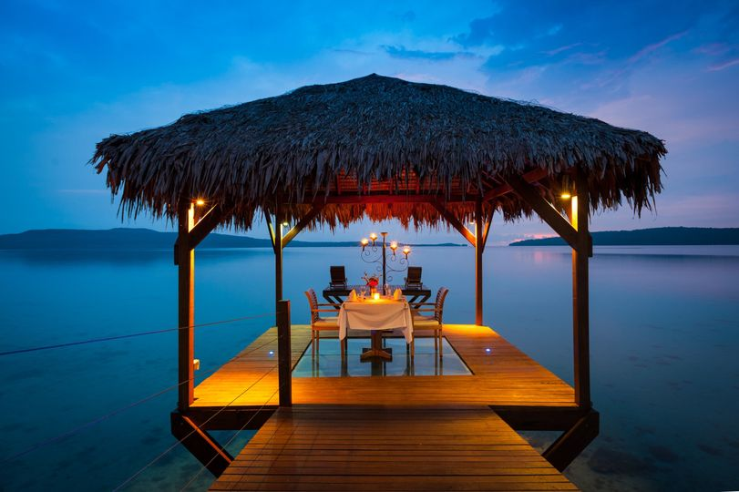 Romantic over water dinner