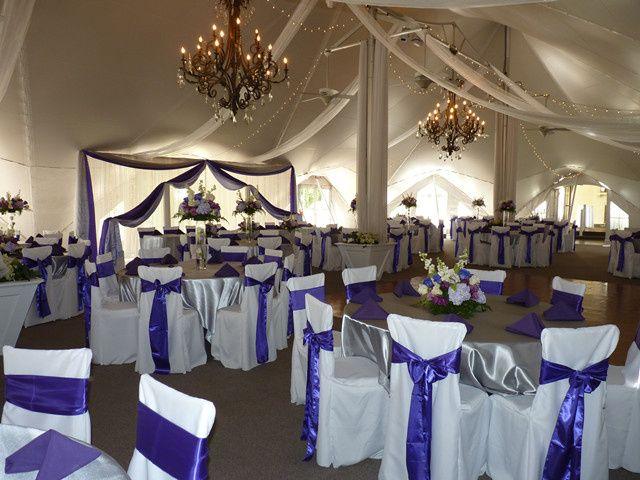 Blue and white reception setup