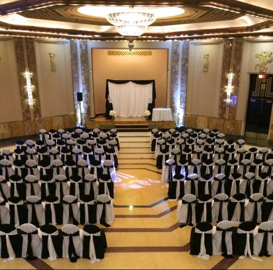 Black and white wedding setup