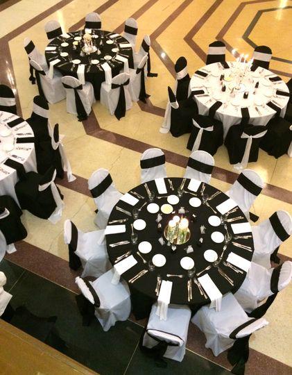Black and white table setup