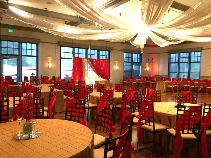 Red and gold reception setup