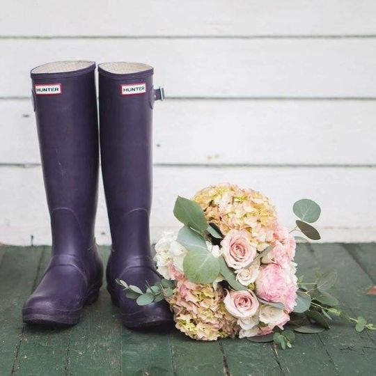 Rain boots and florals