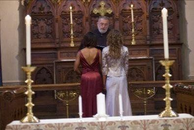 Couple by the altar