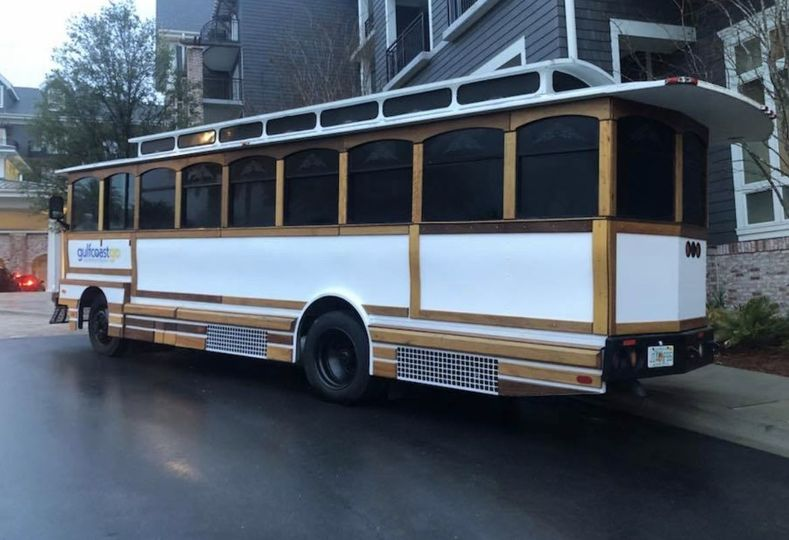 side of trolley customizable for YOUR event.
