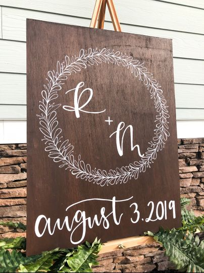 Wooden initials and date sign