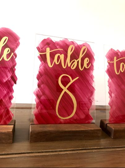 Wine and gold table numbers